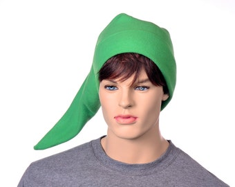 Elf Hat Green Pointed Fleece Long Pointed Cap Elvish Hero Pointy Cap Adult