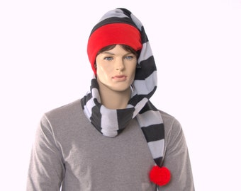 Long Stocking Cap Black Gray Striped Wrap Around Scarf Hat With Red Headband and Pompom