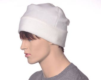 Cream Beanie Hat Fleece Four Panel Warm Winter Hat Ivory Beanie Cap