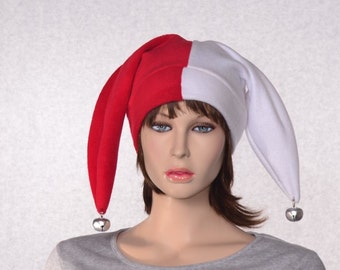 Red and White Harlequin Cap Costume Jester Hat Two Pointed with Bells Patchwork Fleece Jester Cap