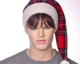 Long Stocking Cap Red Plaid Stewart Tartan Fleece with Sherpa Headband Mens Plaid Fuzz Ball Pompom