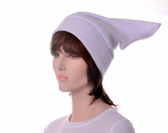White Pointed Beanie Hat Elf Hat Stocking Cap Unisex Adult