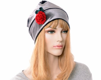 Slouchy Beanie Dark Gray Velvet with Red Rose Trim Fashion Hat