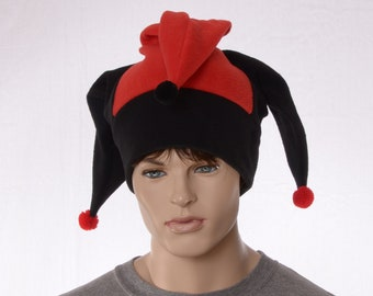 Jester Hat Red Black Pompoms Fleece Harlequin Cap Fool Three Tailed Beanie