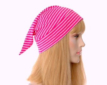 Short Pointed Nightcap Magenta and White Striped Night Cap Unisex Adult