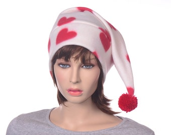 Hearts Stocking Cap Cream White and Red Elf Hat with Pompom Fuzz Ball Adult