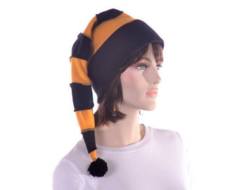 Black Gold Stocking Cap Long Pointed Hat with PomPom