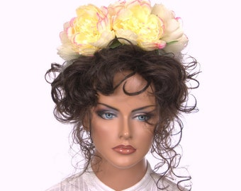 Large Pastel Yellow Flower Headband Dia de la Muerte Day of the Dead Fascinator La Catrina