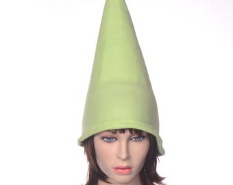 Light Green Gnome Hat  Fleece Unisex Adult Womens Mens Hat Wizard Hat Tall Pointed Cap