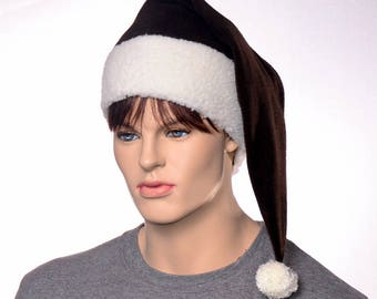 Brown Santa Hat Sherpa Headband Long Stocking Cap Gothic Elf Cap Victorian Adult with Pompom