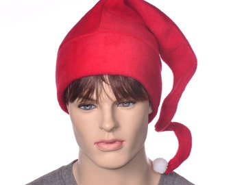 Red Christmas Hat  Twisty Tail Cap Pixie Fairy Elf Hat Holiday Stocking Cap with Pompom Adult Men Women Beanie