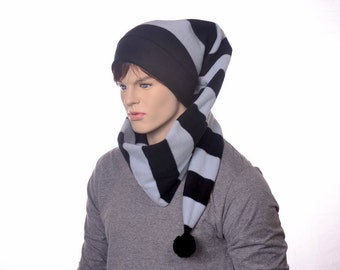 Black Gray Striped Long Stocking Cap Wrap Around Scarf Hat 5 ft Super Long Coil Gothic Hero Hat Balaclava