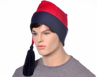 Red Navy Phrygian Cap Liberty Hat Fleece Stocking Cap with Tassel Mens Womens Hat