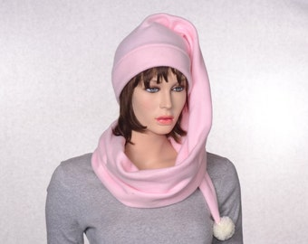 Extra Long Stocking Cap Pastel Pink Scarf Hat 5 Foot Long Tail Hat with Pompom  Warm Winter Fleece BeanieLong