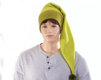 Swamp Green Long Stocking Cap Green Pompom Beanie Hat Long Tail Adult Women Men Cosplay