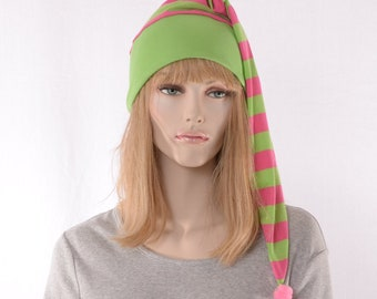 NightCap Green Pink Stripe Pointed Hat Cotton Night Cap Elf Hat