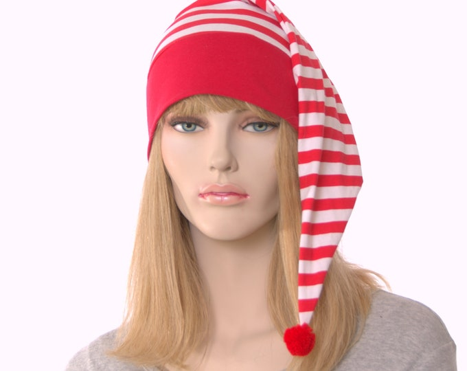 Featured listing image: NightCap Red and White Striped Night Cap with Pompom Cotton Adult Men Women