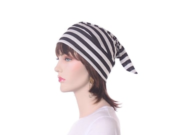 NightCap Black White Striped Victorian Night Cap Adult Women Mens Sleep Hat Pointed Sleeping Cap Pointed Pajama Hat Poor Poet Cap