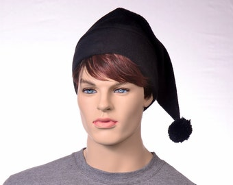 Goth Black Stocking Cap Long Pointed Beanie Dark Elf Hat With Pompom Goblin Gothic