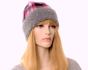 Pink Plaid Beanie with Gray Sherpa Headband Unisex Adult Men Women Cap
