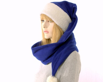 Stocking Cap Extra Long with Pompom Royal Blue Sherpa Headband Wrap Around Fleece 5 foot long