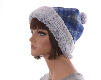 Blue Sherpa Beanie Plaid Fleece Body and Pompom Adult Men Women