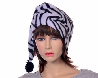 Zebra Stripe Long Tail Hat Fleece Stocking Cap Pom Pom Ladies Womens Beanie