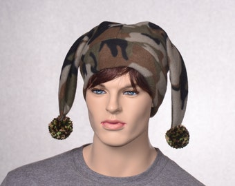 Mens Camouflage Jester Cap Pointed Harlequin Hat Camo Pompoms Hunter Two Point Beanie
