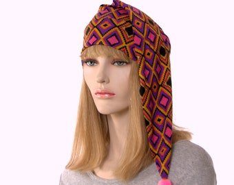 Boho Nightcap Pink Black Aztec Print Long Pointed Hat Unisex Adult