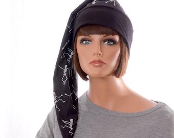 NightCap Goth Black White Dancing Skeletons Night Cap with Pompom Unisex Adult Men Women Cotton Sleep Hat