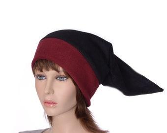 Adult Elf Hat Stocking Cap Black Burgundy Maroon Headband Long Pointed Mens Hat Women