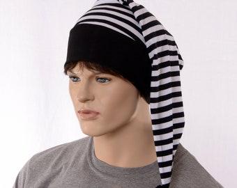 Night Cap Hat Goth Black White Striped Nightcap with Pompom Cotton Adult Men Women