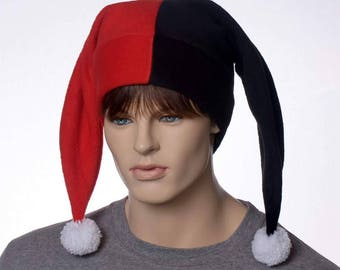 Jester Hat Red Black Harlequin Cap with White Pompoms Fleece Costume Fool