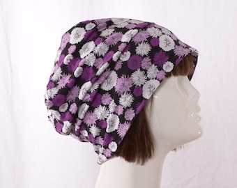 Boho Slouchy Beanie Purple Black White Floral Cotton Blend Head Cover