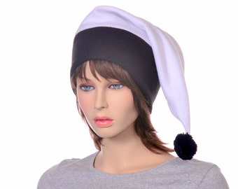 Goth Black White Long Stocking Cap Pointed Elf Hat Adult Mens Women Hat Fleece Long Tail Beanie with Pompom Ball Unisex
