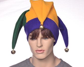 Jester Hat New Orleans Three Point Harlequin Cap with Bells Fleece Mardi Gras Carnival Fleece