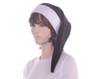 Black White Long Stocking Cap Womens Men Fleece Elf Hat Adult