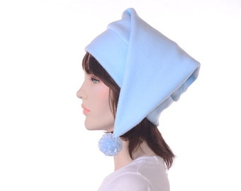 Stocking Cap Pastel Blue with Pompom Pointed Elf Dwarf Hat Warm Winter Hat Adult Mens Womens Cap