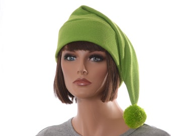 Green Stocking Cap with Pompom Bright Lime Long Pointed Beanie Hat Forest Tail Hat Adult Man Women Fleece Hat