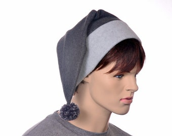 Dark Gray Stocking Cap Long Pointed Beanie Hat Light Grey for Man or Woman