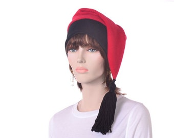 Red Black Phrygian Cap Liberty Hat Fleece Tail Stocking Cap Tassel Mens Womens Long