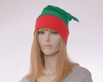 Christmas Nightcap Red Green Knotted Cotton Sleep Night Cap Elf Hat Adult Men Women