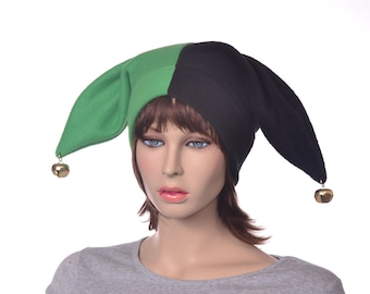 Green Black Harlequin Hat Two Tail Points with Gold Bells Mardi Gras Carnival Fleece Jester Cap Unisex Adult Men Women Fool Clown Hat