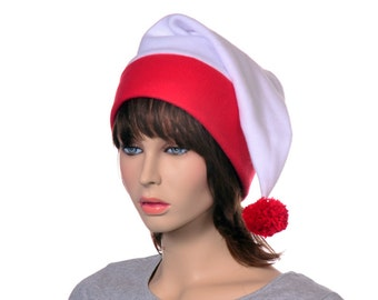 White Red Stocking Cap Fleece with Pompom Warm Winter Fleece Hat Long Tail Hat