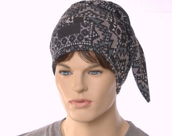 Nightcap Black Gray Aztec Print Poor Poet Short Pointed Night Cap Sleep Hat