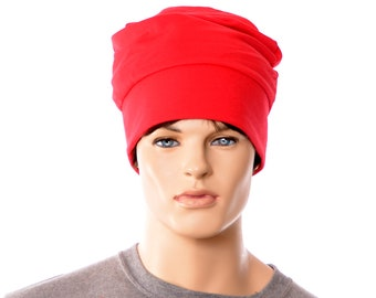 Red Beanie Barretina Style Adult Mens Womens Cotton Fleece