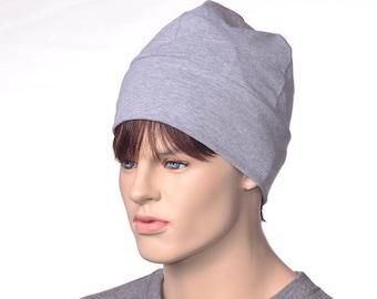 Gray Beanie Workshop Artisan Skull Cap Made of Cotton Poor Poet Hat Adult Men Women