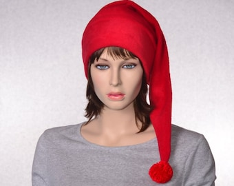 Bright Red Stocking Cap Fleece Hat Extra Long Christmas Elf Hat Solid Red Santa Hat Adult
