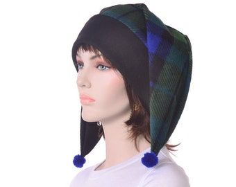 Harlequin Hat Green Plaid and Black Two Point Pompoms Halloween Costume
