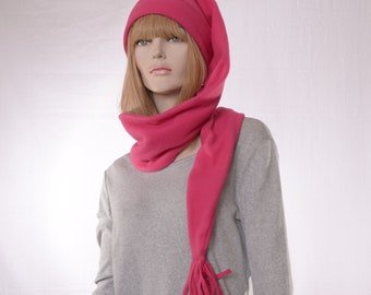 Stocking Cap Extra Long Magenta Pink Wrap around Hat 5 ft Long Coil hat Face Covering